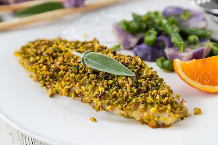 Baked breaded sole fillet with pistachios for White fish fillet recipe