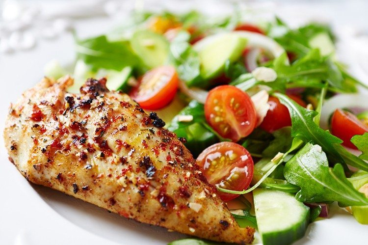 Skillet Chicken Herbs With Garden Salad