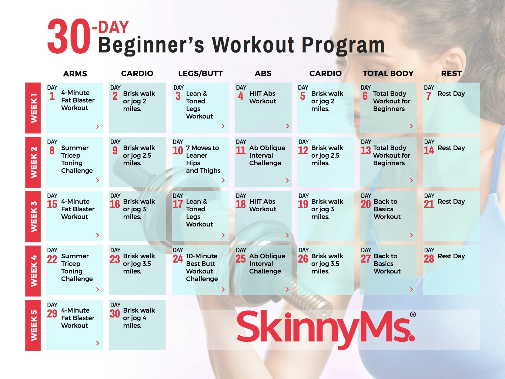 30 Day Beginners Workout Calendar