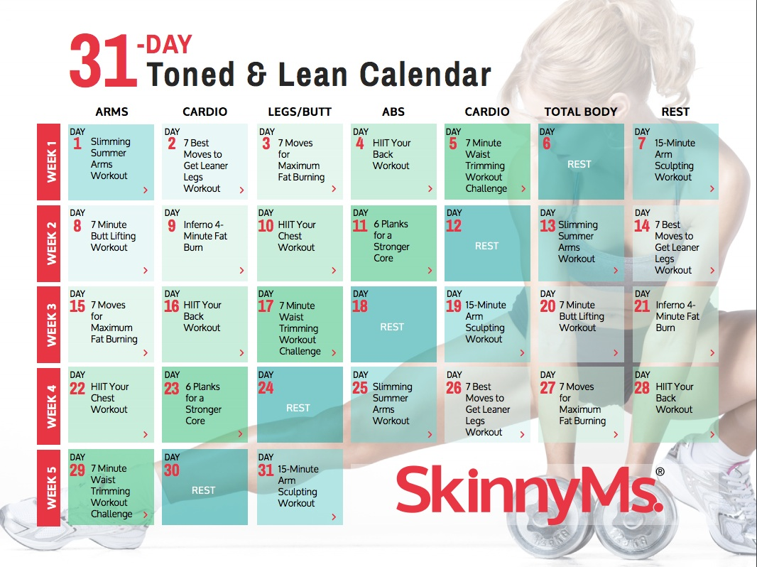 31 Day Toned & Lean Fitness Calendar