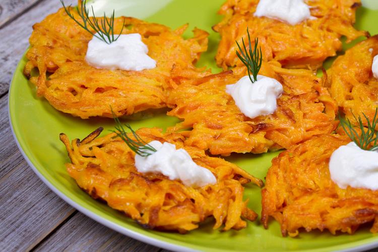 Carrot Latkes with Yogurt Sauce