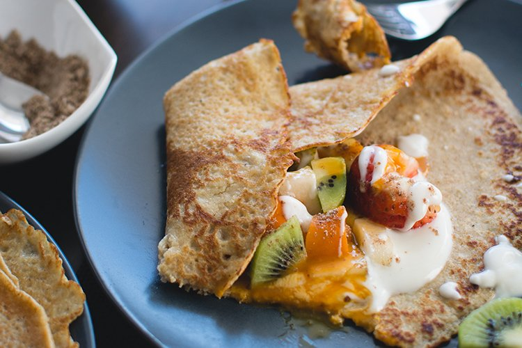 Buckwheat Crepes with Fruit Filling and Yogurt