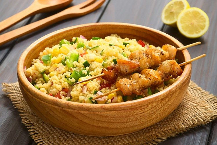 Honey-Glazed Chicken Skewers with Couscous Salad - Skinny Ms.