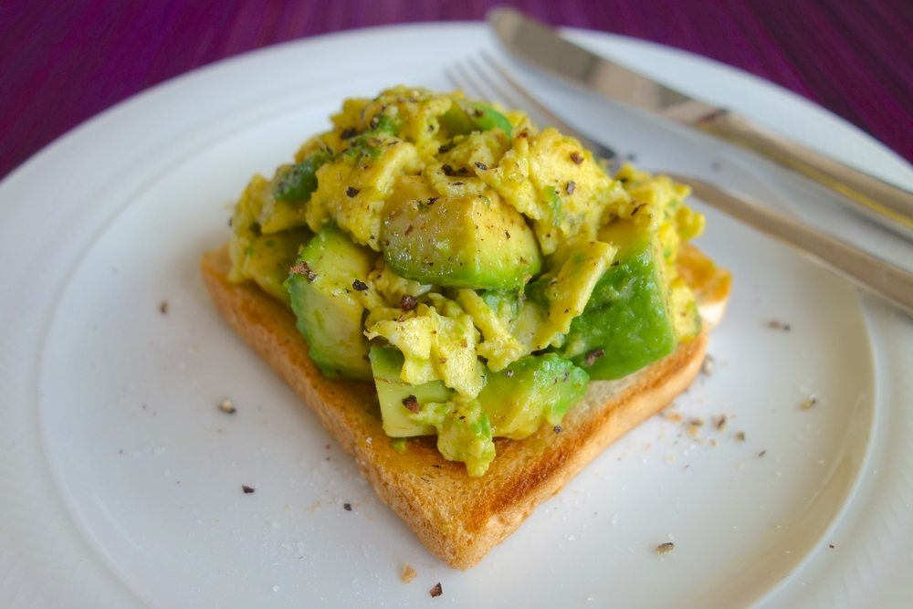 Open Face Scrambled Eggs and Avocado Toast