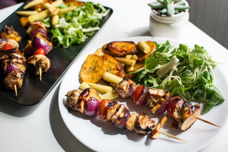 Jerked Chicken & Plantain Skewers