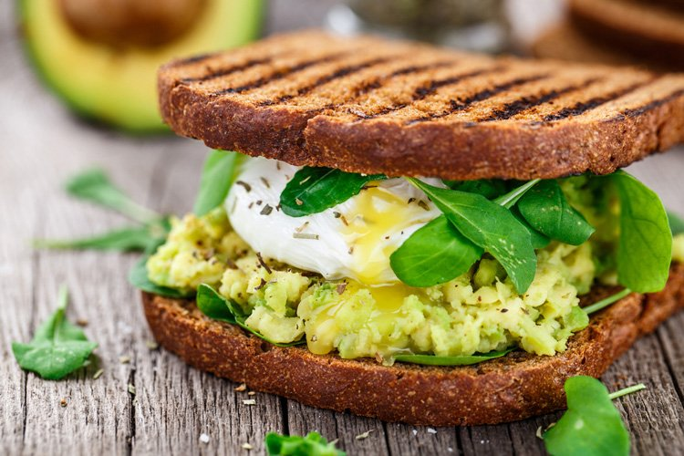 Smashed Avocado and Poached Egg Sandwich