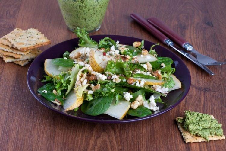 Spinach Pear Walnut Salad