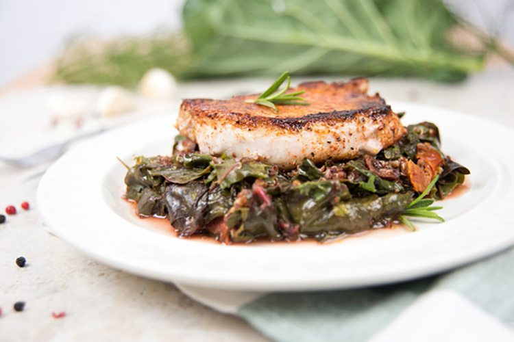 Stovetop Porkchops over Wilted Chard & Quinoa