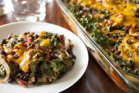 Cheesy Kale & Sweet Potato Casserole