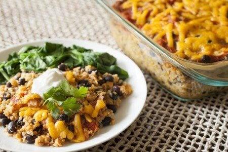 Cheesy Quinoa & Black Bean Casserole