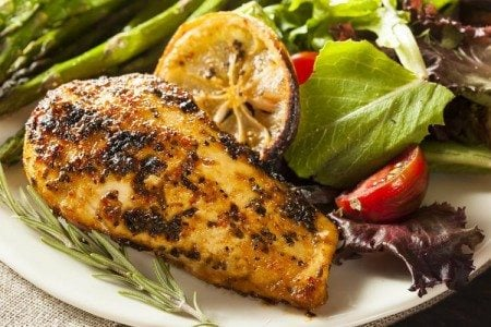 Lemon Chicken Breasts with Salad & Asparagus