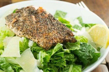 Lemon Pepper Salmon Caesar Salad Recipe
