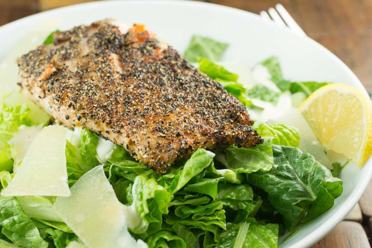 Lemon Pepper Salmon Caesar Salad