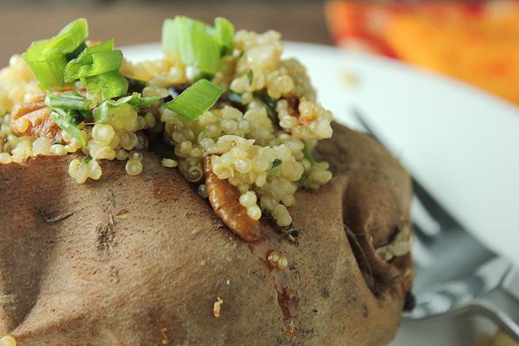 orange quinoa stuffed sweet potatoes