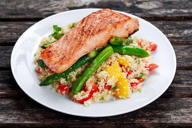 Pan Fried Salmon with Asparagus and Couscous Salad