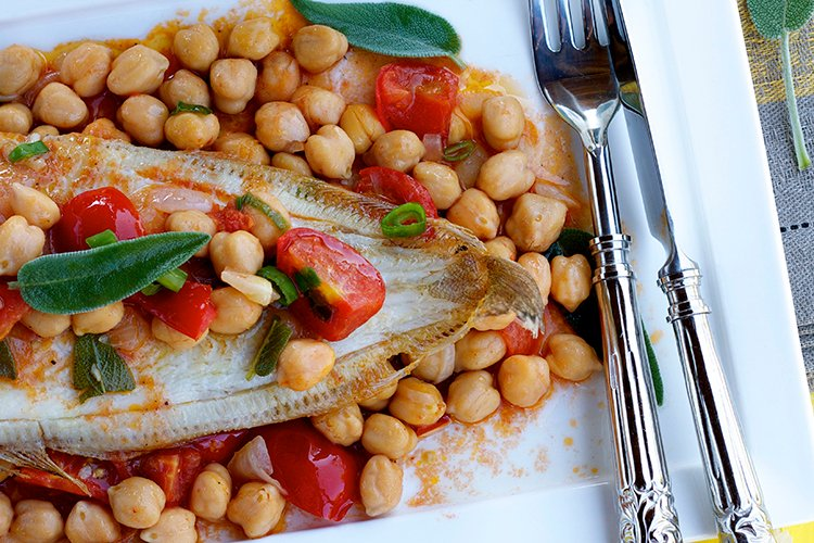 Quick Fish with Chickpeas, Tomatoes & Sage