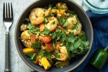 Saffron Shrimp & Peach Rice Bowls
