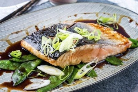 Salmon Teriyaki with Snow Peas