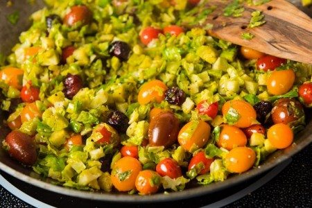 Shredded Brussels Sprouts with Cherry Tomatoes