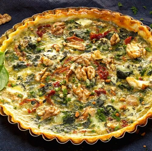 Spinach Quiche With Sun Dried Tomatoes