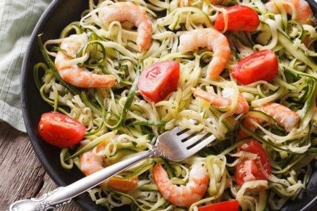 Zucchini Pasta with Shrimp & Tomatoes