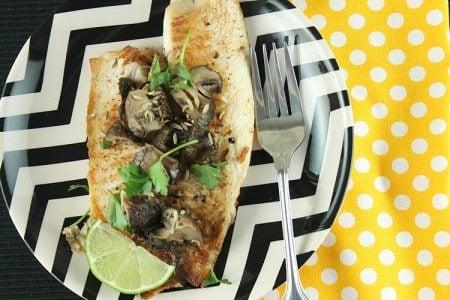 Grilled Tilapia with Garlic Tamari Mushrooms