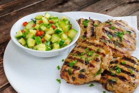 Grilled Turkey Burgers with Cucumber Salad