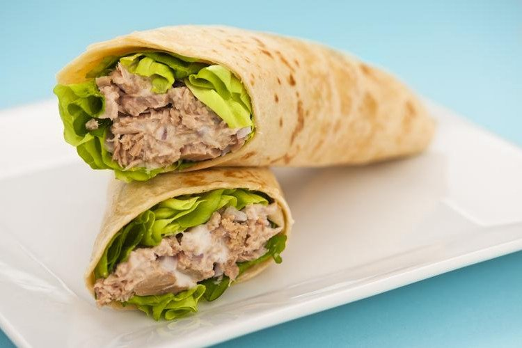 Lite Tuna Melt in a Whole Wheat Wrap