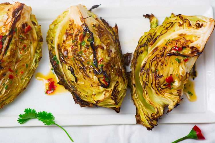 Spicy Roasted Cabbage Wedges