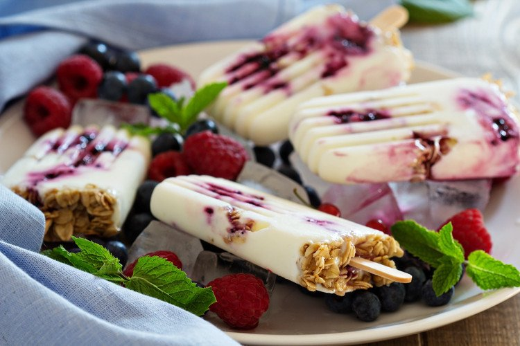 Yogurt & Blueberry Jam Popsicles