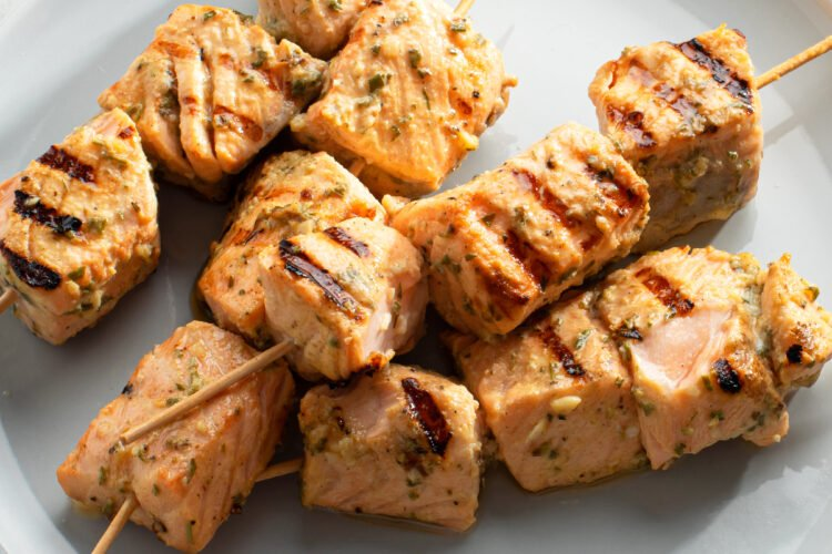 These grilled salmon chunks are pleasing in taste and texture!