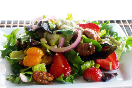 Summer Salad with Strawberries & Candied Pecans