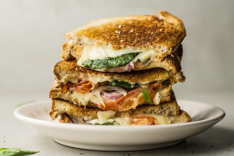 tomato mozzarella and basil panini