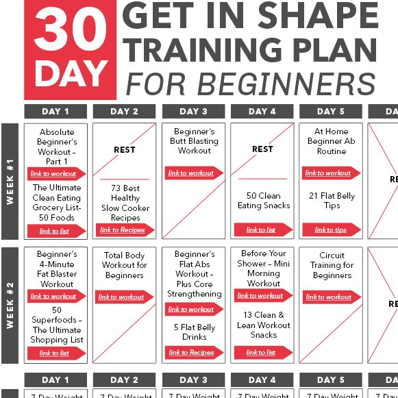 30 Day Get In Shape Training Plan For Beginners Calendar