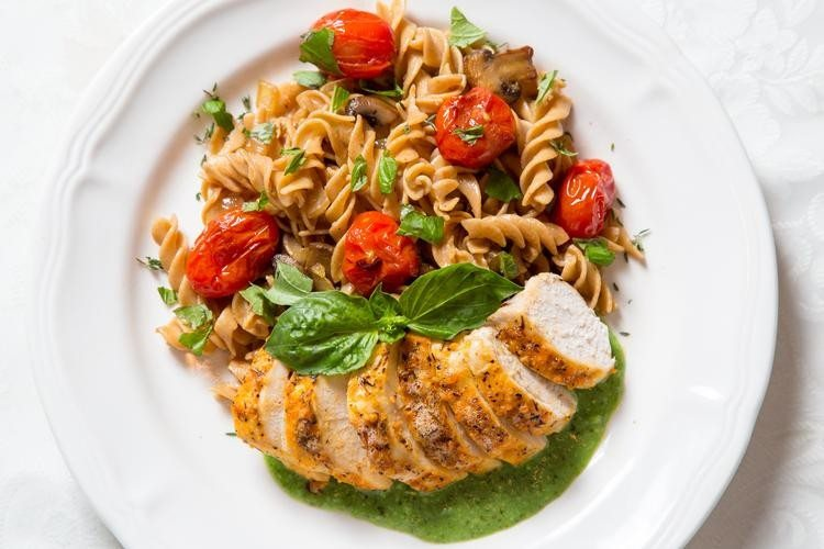 Chicken Breasts with Pasta & Pesto