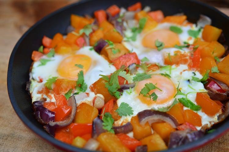 Fried Eggs & Sweet Potato Hash