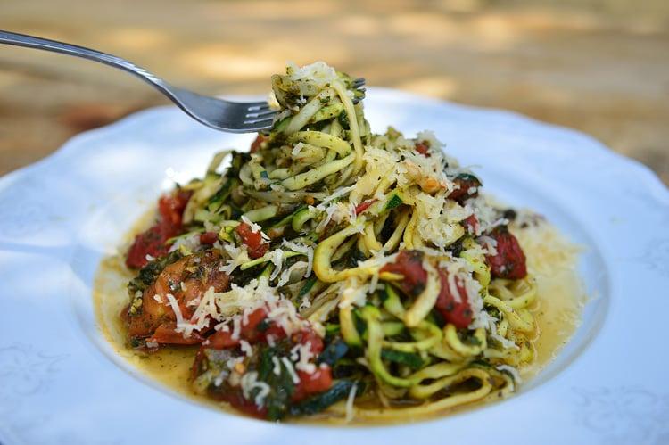 Skinny Zucchini Pasta & Baby Spinach