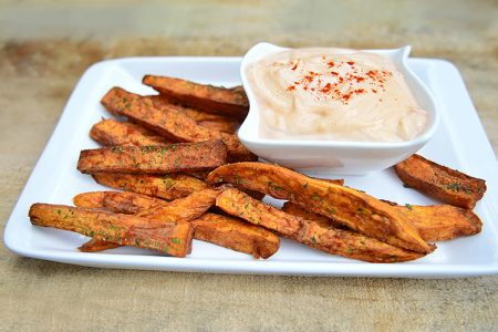 Crispy Sweet Potato Wedges with Spicy Mayo