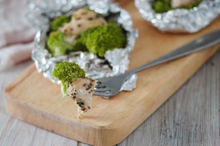 Foil Baked Chicken and Broccoli