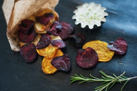 Beet Chips with Tzatziki Dipping Sauce