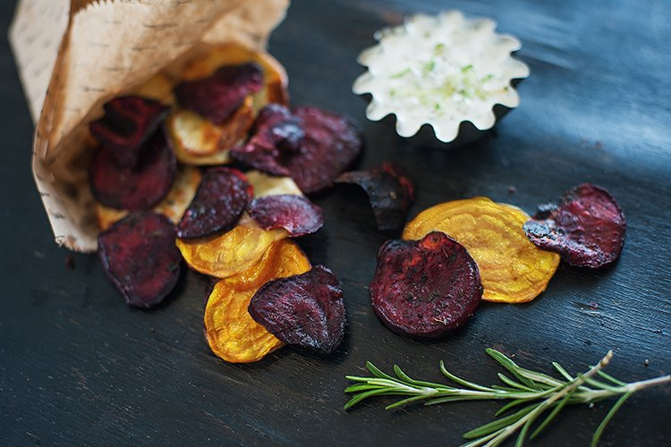 Greek Rosemary Beet Chips with Tzatziki Dipping Sauce Recipe