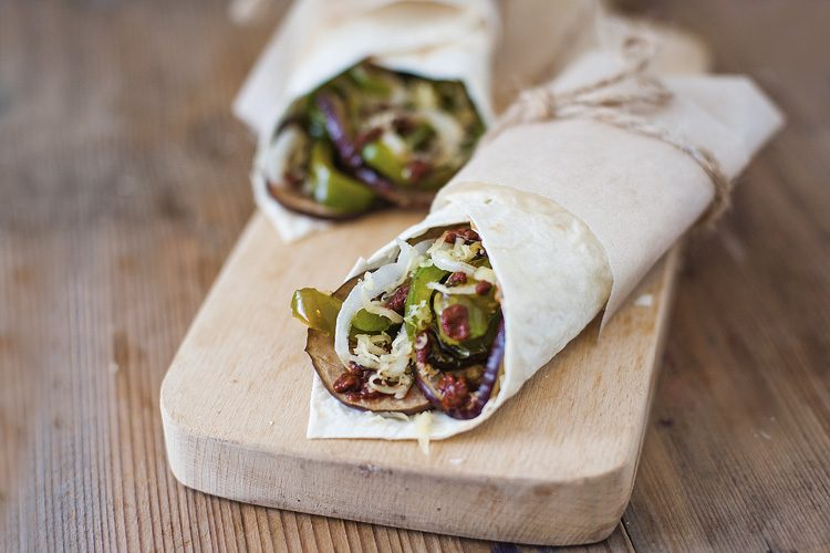 pepper and onion wraps