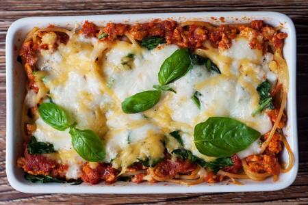 Spaghetti Bolognese Cheesy Spinach Casserole