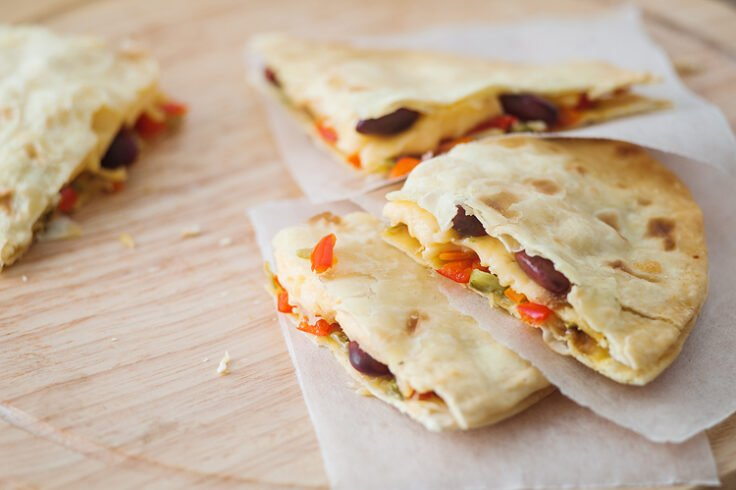 oven baked vegetable quesadilla