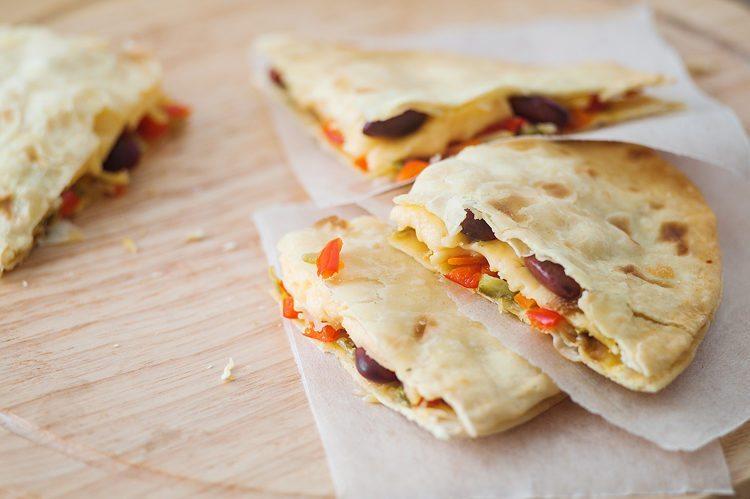 oven baked vegetable quesadilla
