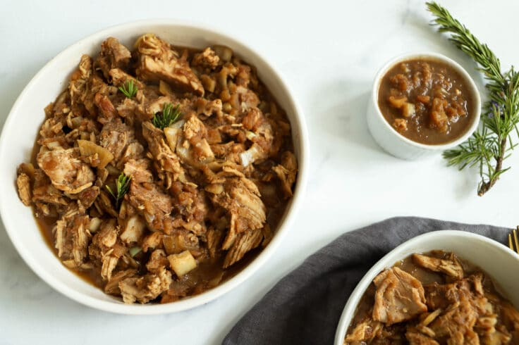 Our slow cooker apple butter pulled pork is the perfect meal for Summer or fall!