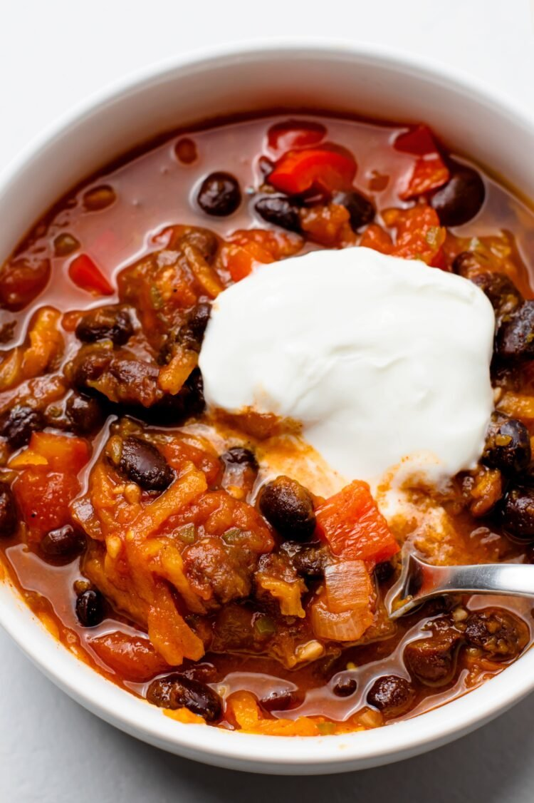 Try our warm and flavorful pumpkin chili. It's packed with nutrients!