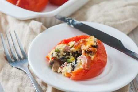 Egg and Turkey Bacon Stuffed Baked Tomato