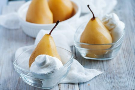 Poached Pear with Coconut Cream