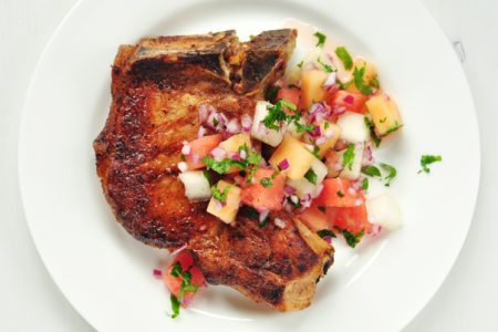 Spicy Pork Chops with Cool Melon Salsa